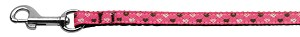 Argyle Hearts Nylon Ribbon Leash Bright Pink 3/8 inch wide 4ft Long